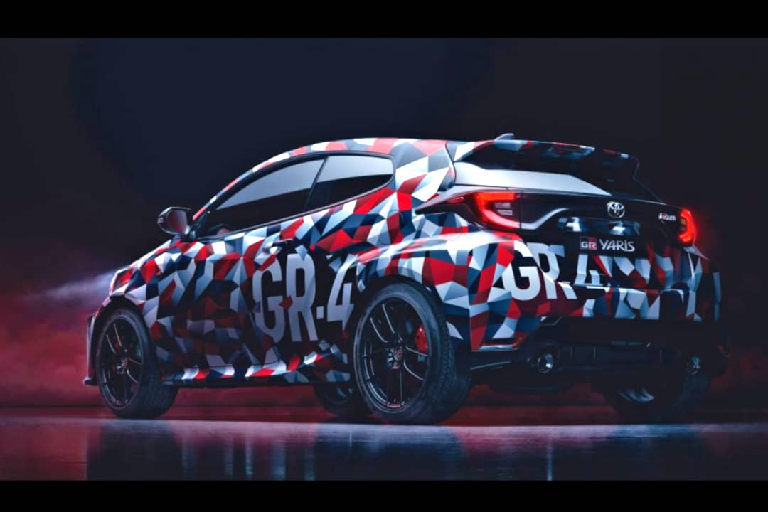 Toyota Yaris GR-4 teaser rear three quarter