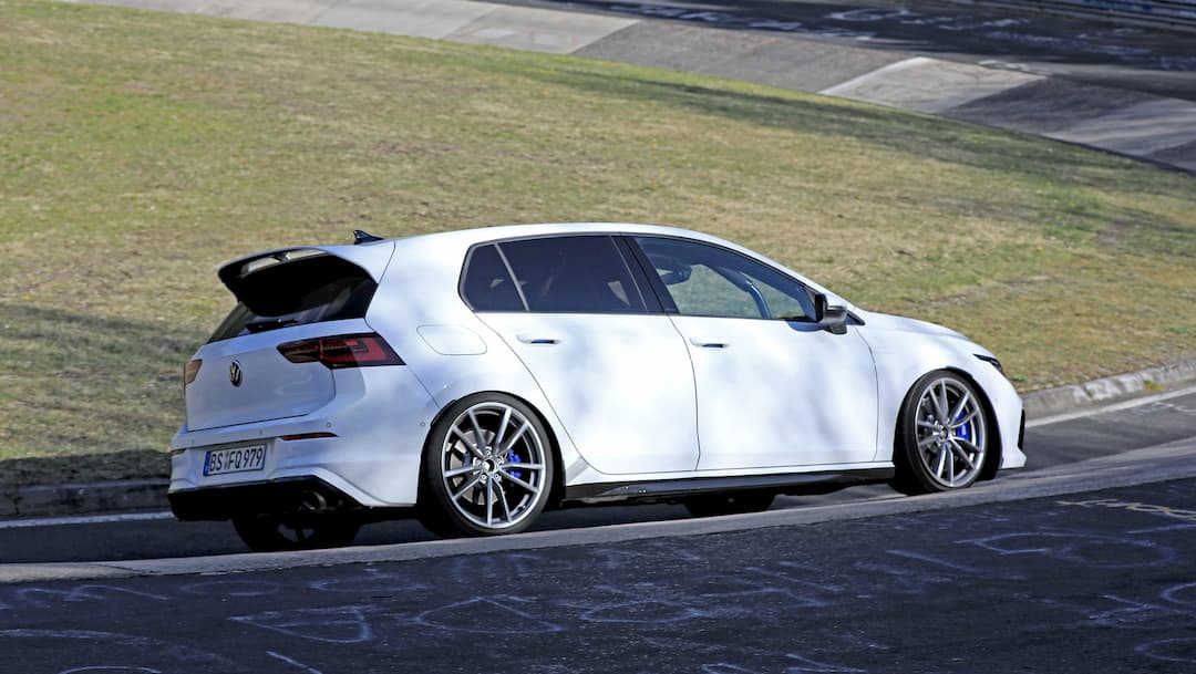 VW Golf R Mk8 spyshot at Nur rear three quarter