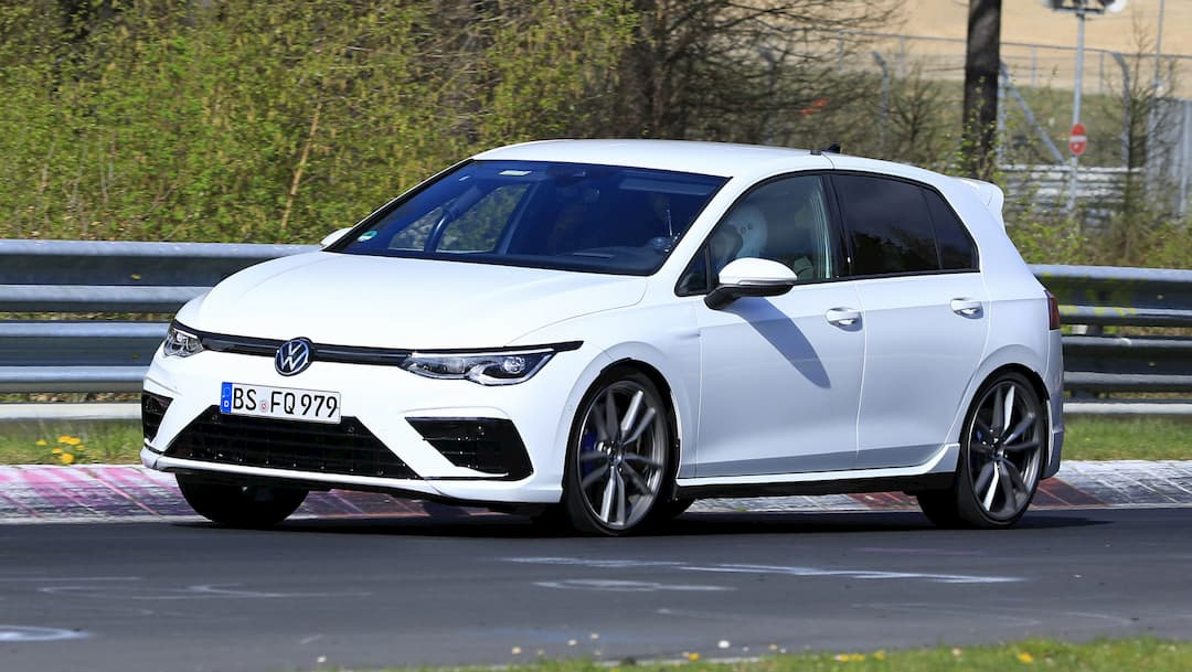VW Golf R Mk8 spyshot at Nur front three quarter