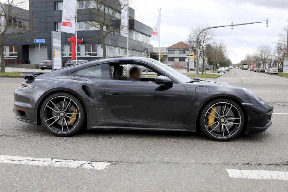Porsche 911 Turbo S type 992 spyshot side