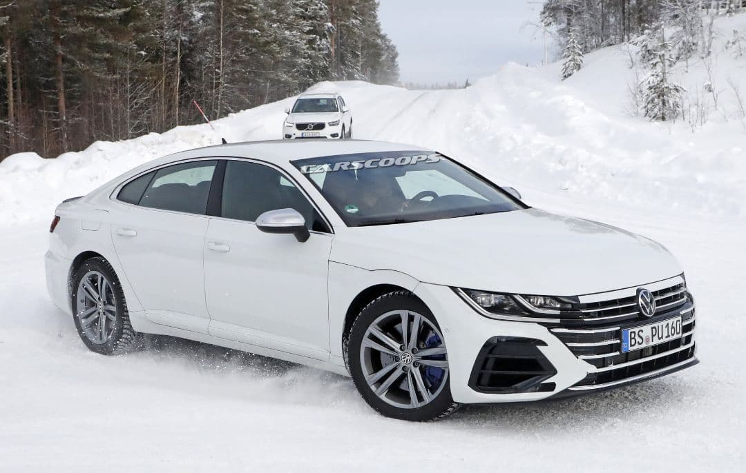 VW Arteon R spyshot front three quarter