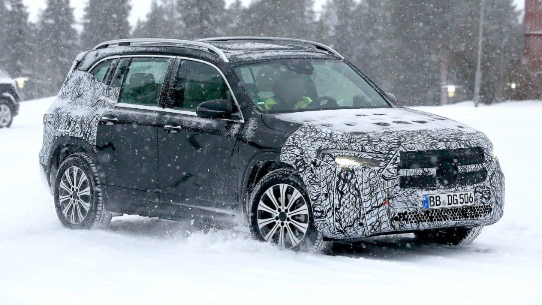 Mercedes Benz EQB spyshot front three quarter