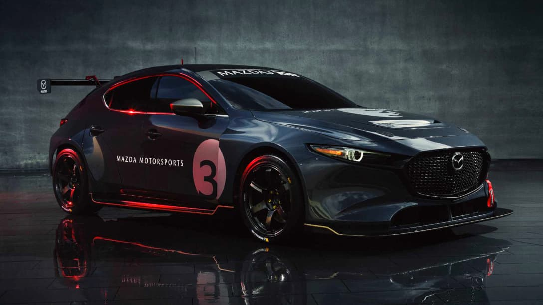 Mazda 3 TCR Race Car front three quarter