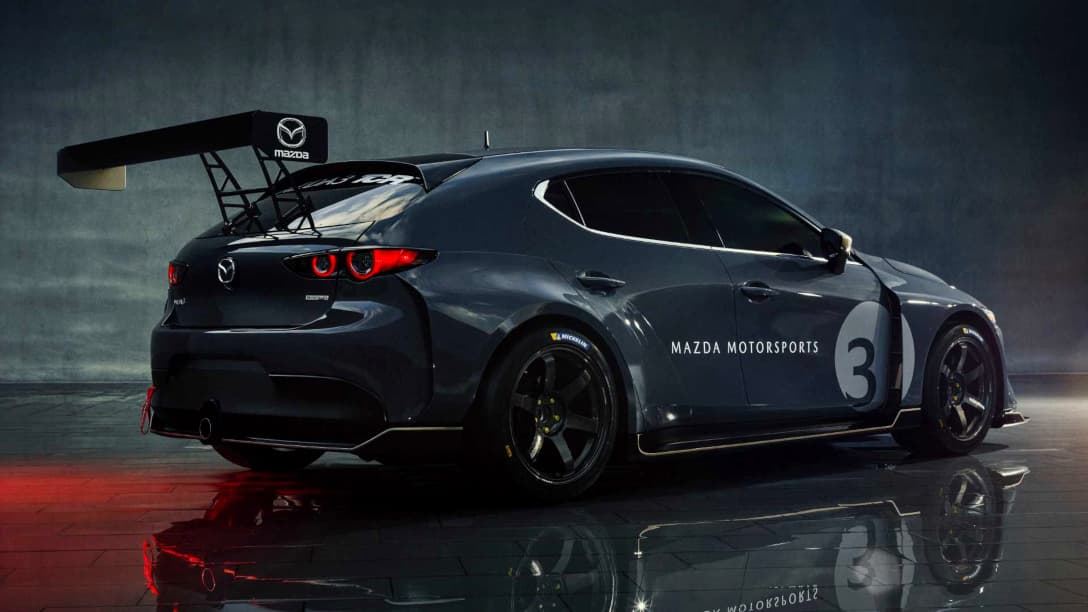 Mazda 3 TCR Race Car rear three quarter
