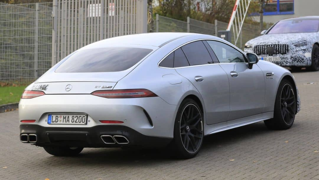 AMG GT 4door Coupe 2021 Facelift Spyshot Rear three quarter